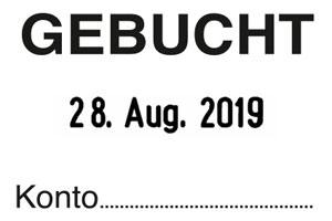 """GEBUCHT+Datum"" SB6  | Trodat Professional 5430"