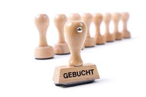 Holzstempel GEBUCHT