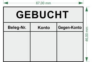 """Gebucht Konto"" BS14 | Holzstempel 70x50mm"