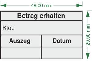 """Betrag erhalten - Konto"" BS15 als Holzstempel 50x30mm"