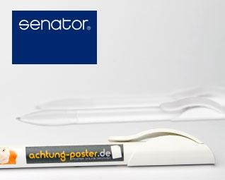 Kugelschreiber Senator Hattrix&reg weiß / schwarz | 4-farbig bedruckt | 30 Stück